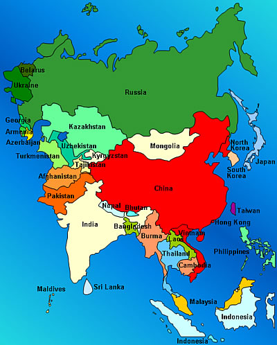 China below is a map that shows where india is located in respect to