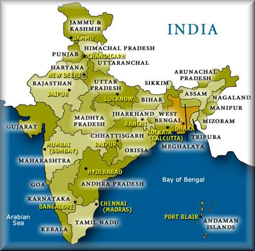 india states, physical map of india, union territories